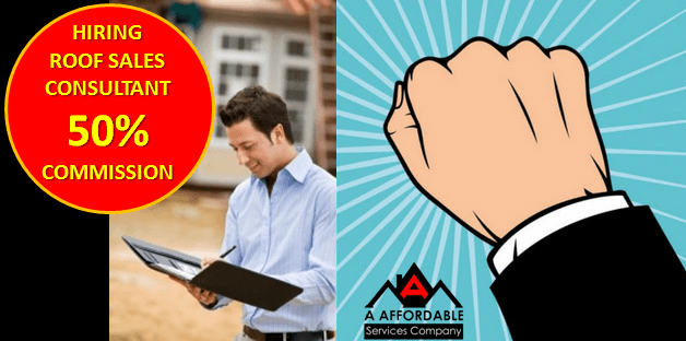 Hiring Roof Sales Consultant 50 Percent Commission Houston Roof Replacement